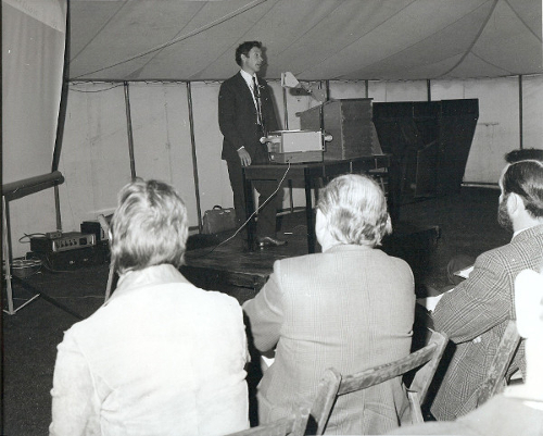 1977 Karl Linklater, Senior VIO, St Boswells VI Centre, organiser of the Sheep Fair, introduces a session in the marquee